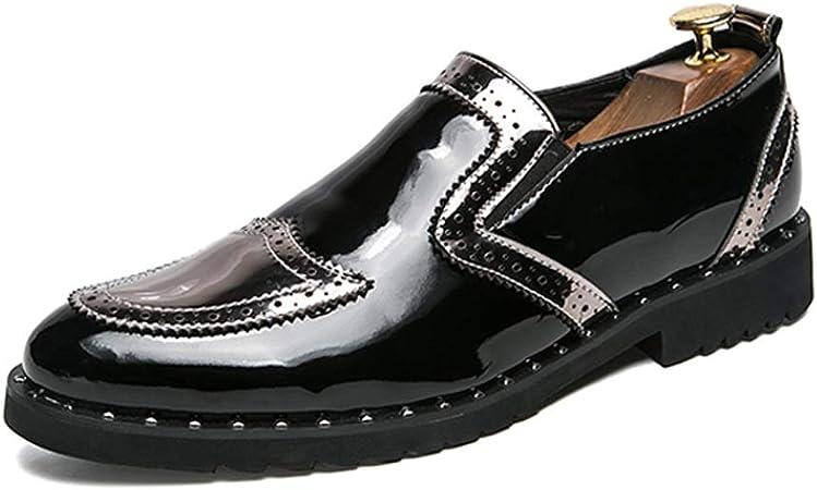 Jingkeke Trabajo for Hombres Brogue Oxfords for Hombres Zapatos sin Cordones for Caminar Mocasines Tallado Síntesis Cuero Punta de ala Tacón de Bloque Llamativo Moda (Color : Plata, tamaño : 43 EU):