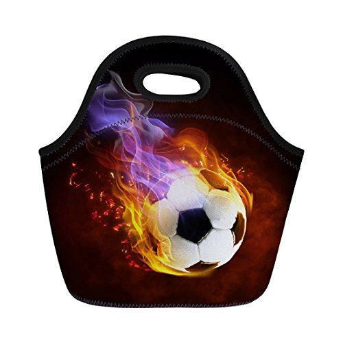 Mumeson Fire Soccer Soft Thermos Lunch Bag Neoprene Insulated Lunchbox Totes Warm Pouch for Child Women Men by Mumeson