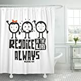 Emvency Shower Curtain Jesus Bible Typographic Rejoice in The Lord Always Catholic Waterproof Polyester Fabric 72 x 78 inches Set with Hooks