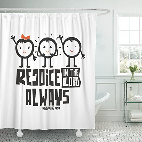 Emvency Shower Curtain Jesus Bible Typographic Rejoice in The Lord Always Catholic Waterproof Polyester Fabric 72 x 78 inches Set with Hooks by Emvency