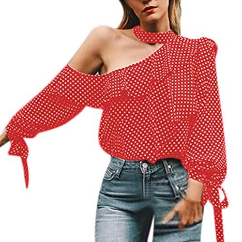 ❤ Camisa de Mujer con un Hombro, Blusa con Lunares Tops Linterna con Manga Chifón Camiseta con Lazo Absolute: Amazon.es: Ropa y accesorios