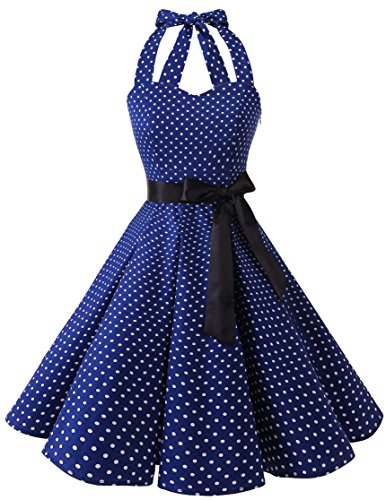 Audrey Robe Vintage avec Style Annes Ceinture Rtro Halter 50 White Small Navy Hepburn Dot Rockabilly Bridesmay H1tFxn1
