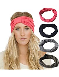 4 Pack Headbands Vintage Elastic Printed Head Wrap Stretchy Moisture Solid Color Criss Hairband For Women