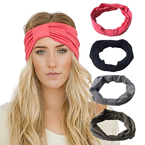 DRESHOW 4 Pack Headbands Vintage Elastic Printed Head Wrap Stretchy Moisture Solid Color Criss Hairband for Women - Headband Stretchy Headband
