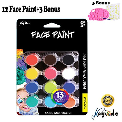 Face Painting Halloween (Magicdo® 12 Cols Face and Body Paint, Water Based Facepaint Kit, Hypoallergenic Clown Makeup, Nontoxic Carnival Face Paint, Kids Face Painting Kits with Brush, Palette and 30 Reusable Stencils)