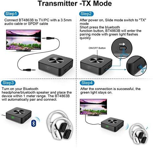 Negro TouchSKY Adaptador de Bluetooth 5.0, 2-en-1 Receptor Bluetooth y Transmisor Bluetooth,Plug and Play Compatible con Auriculares//Altavoces//Teclados//Rat/ónes ,con Modo de conmutaci/ón TX//RX