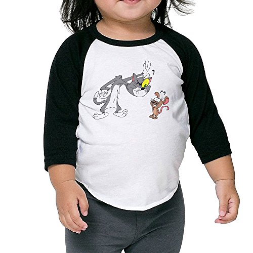 Kid's Tom And Jerry Show Toddler Boy's Girl's 3/4 Sleeve Raglan T-Shirt 100% Cotton 4 Toddler