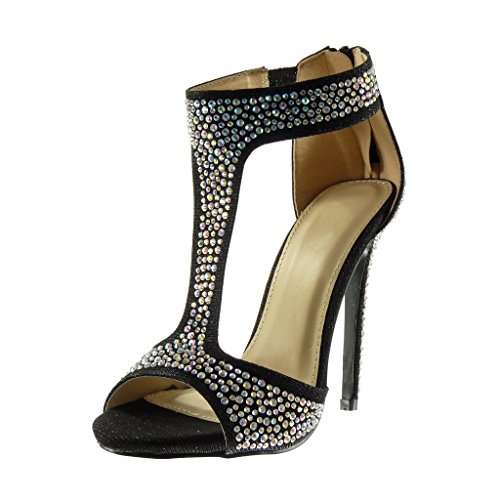 Tal Strass Botines Moda Zapatillas Stiletto Sexy Brillantes Sandalias Mujer Correa Angkorly p1v8qx