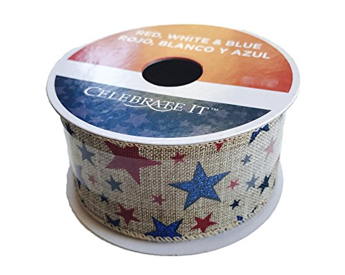 1.5' Striped Ribbon - Americana Patriotic Brown Ribbon 1.5'' x 9' Red and Blue Stars Wired Edge