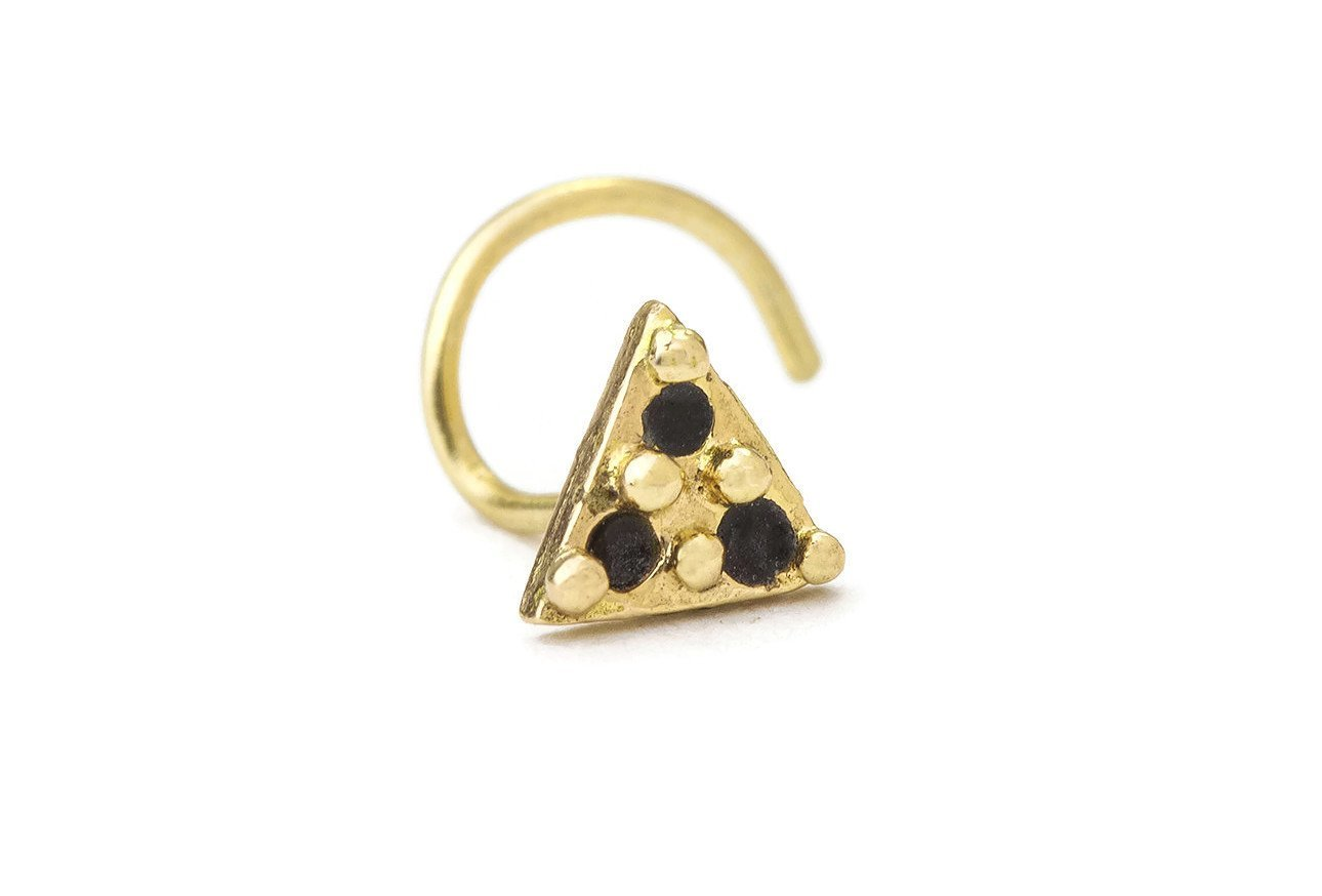 Triangle Nose Stud: Gold 14K Enameled Handmade Nostril Jewelry in 20 Gauge