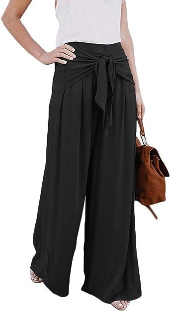 pantalon large noir avec gros noeud