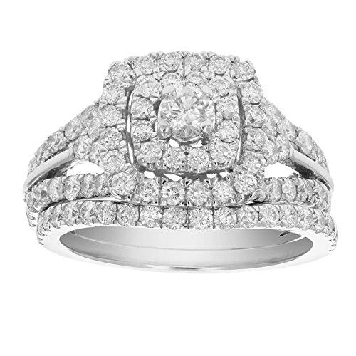 2 CT Diamond Wedding Engagement Ring Set 14K White Gold Size ()