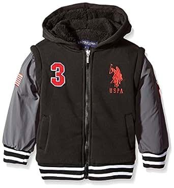U.S. Polo Assn. Little Boy's Long Sleeve Zip up Sherpa Lined Hoodie, Black-LNKK, 4