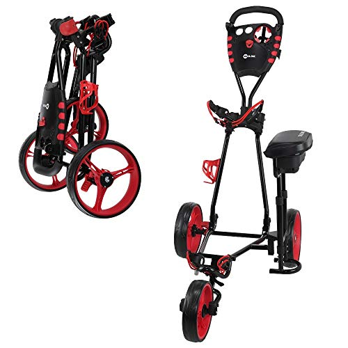 Ram Golf X-Pro Laser 3 Wheel Golf Pull Cart with Seat (Laser Saddle)