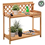 Belleza Wooden Potting Bench for Outdoor Outside with Storage Drawer for Tools Lower Shelf & Hook | Garden Work Station Solid Wood Construction for Gardening Living Area Décor Easy Soil Access Durable