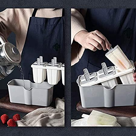 Sdesign Bandejas de Cubitos de Hielo Gray Silicone 6 Gigante Cubo de Hielo Uso para niños con Caramelo Pudín Jalea Leche Jugo Molde de Chocolate o cócteles Partículas de Whisky