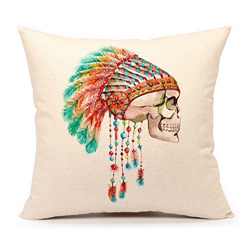 4TH Emotion Indian Halloween Skull Throw Pillow Case Cushion Cover for Sofa Couch 18 x 18 Inch Cotton Linen