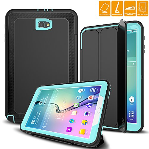 SEYAMC Samsung Galaxy Tab A 10.1 Case, Heavy Duty Rugged Case with Trifold Stand Auto Sleep/Wake Cover for Galaxy Tab A6 10.1 inch 2016 Tablet (SM-T580 / SM-T585, No Pen Version), (Black/Light Blue)