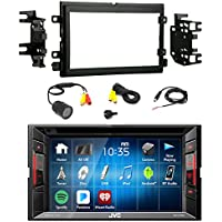 JVC KW-V140BT Double DIN BT Car Stereo Receiver w/Touchscreen with Metra 95-5812 2DIN Installation Kit for Select 2004-up Ford Vehicles & PYLE PLCM22IR Rear View Camera with 0.5 Lux Night Vision