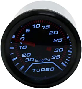 """JahyShow 35 PSI LED Turbo Boost Press Pressure Vacuum Gauge Meter - Black Dial - Smoked Lens for Auto Car 2"""" 52mm"""