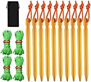 10 Pcs Aluminum Tent Stakes, 7 Inch Tent Pegs with Hook and 4 Pcs Reflective Rope with Two-Hole Wind Rope Buck