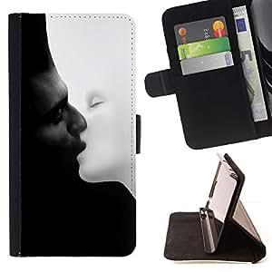 For HTC One M7 Case , blanco y negro Chernoe i- la tarjeta de Crédito Slots PU Funda de cuero Monedero caso cubierta de piel