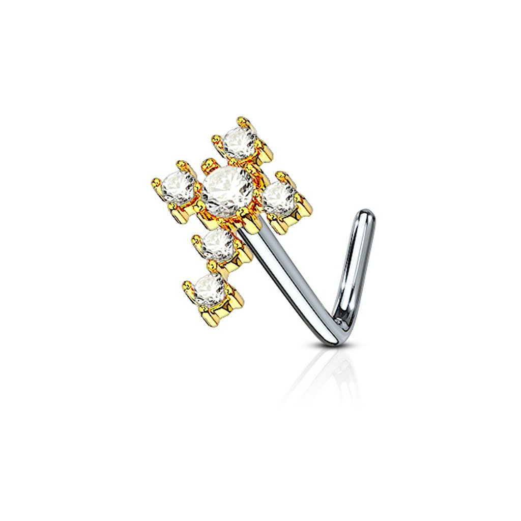 Fifth Cue 20G Cubic Zirconia Cross 316L Surgical Steel L Bend Nose Stud Ring - Choose Color FifthCue JQNOL-620
