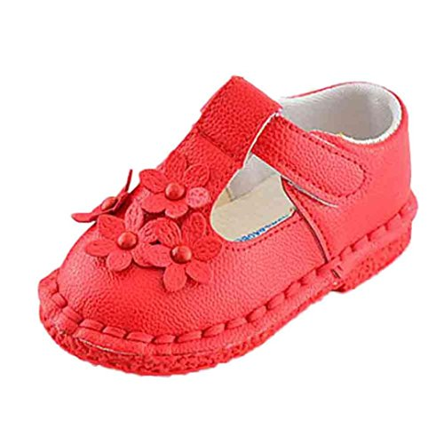 Tefamore Sandalias Zapatos de Soltero Recién Nacido Suela Blanda Antideslizante Para Niños Pequeños Bebé Sneakers Primavera y Verano Rojo