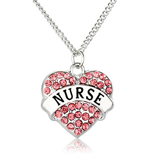 Registered Nurse Necklace for Women,CHUYUN Silver Pink Rhinstone Charm Pendant for Graducation Mother Doctor Girl BFF Gift (pink)
