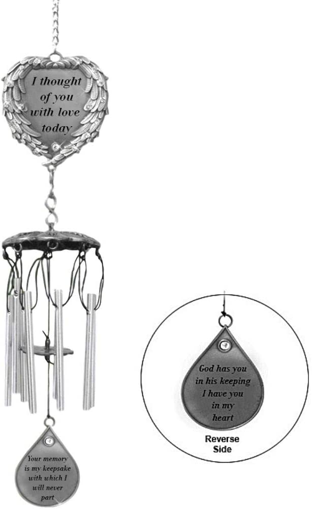 Amazon Com Banberry Designs Memorial Windchimes I Thought Of You With Love Today Poem Engraved On This Wind Chime Angel Wings Wrapped Around A Heart And Teardrop Charm In