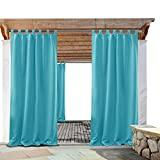 PONY DANCE Outdoor Curtains Waterproof - 95'' Long Tab Top Solid Wind Keep Out Thermal Insulated Light Block Curtain Panels Patio, 52 x 95 inch, Turquoise, 1 Piece