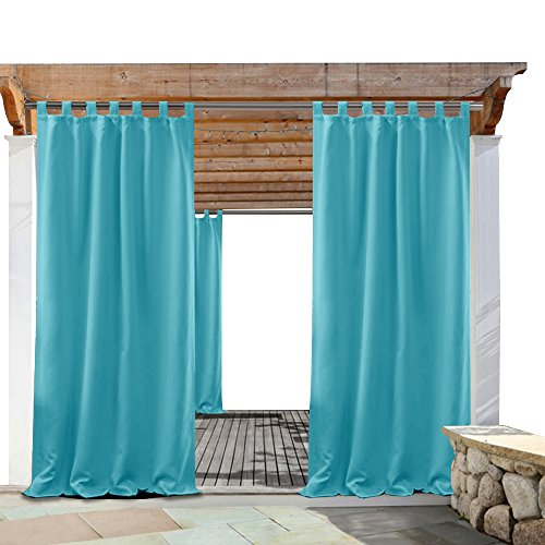 Blue Canopy Gazebo - PONY DANCE Patio Outdoor Curtain - Home Decor Solid Tab Top Blackout Drapes Waterproof Indoor Outdoor Light Block for Pergola, 52 by 84 Inch, Turquoise, Single Panel