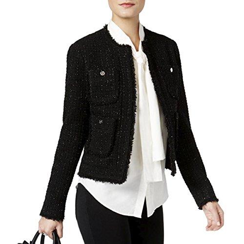 MICHAEL Michael Kors Womens Wool Metallic Jacket Black (Michael Kors Black Wool)