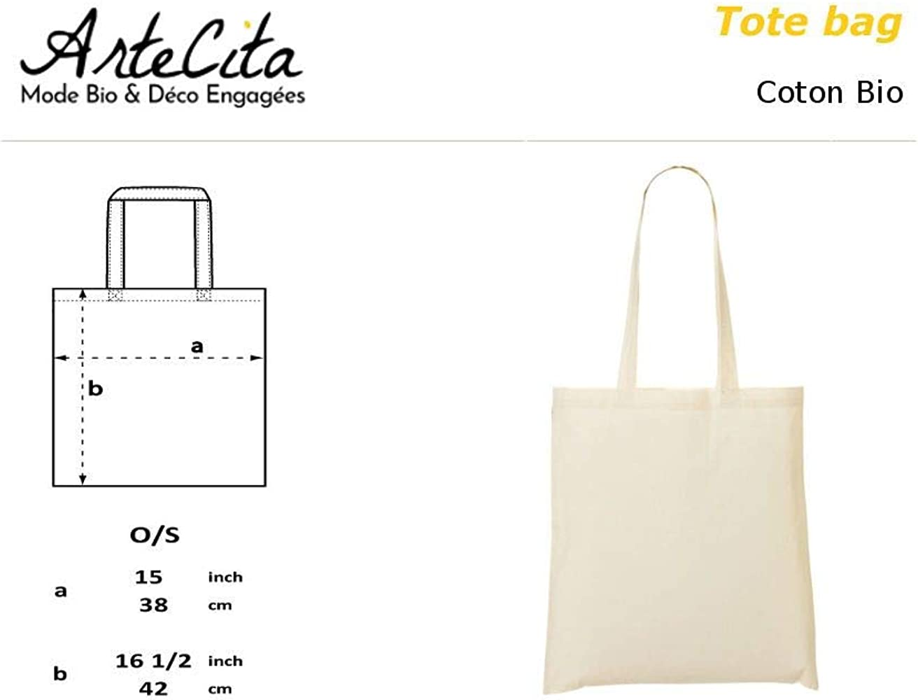 ArteCita Tote Bag - Bolsa de algodón orgánico, diseño con texto Je ...
