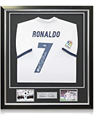 Cristiano Ronaldo Signed Real Madrid 2016-17 Home Soccer Jersey In Deluxe Black Frame With Silver Inlay