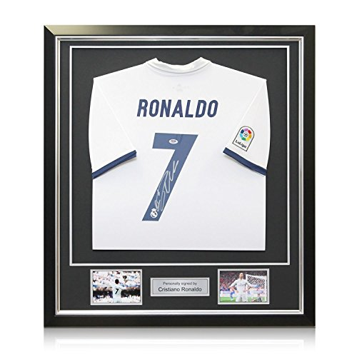 Cristiano Ronaldo Signed Real Madrid 2016-17 Home Soccer Jersey In Deluxe Black Frame With Silver (Real Signed Autograph)