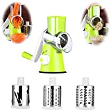 Tulas Manual Round Mandoline Slicer, Stainless Steel Blades Potato Carrot Julienne Vegetable Cutter Cheese Grater Kitchen Cooking Tools