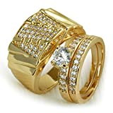 wayne-Set 18k Gold filled mens womens wedding engagement ring band r280,211