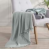 "Amrapur Overseas Reversible 100-Percent Cotton Throw, 50""x60"", Seafoam"