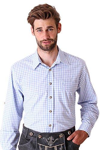 Trachtenhemd Langarm Charles in Hellblau von OS-Trachten