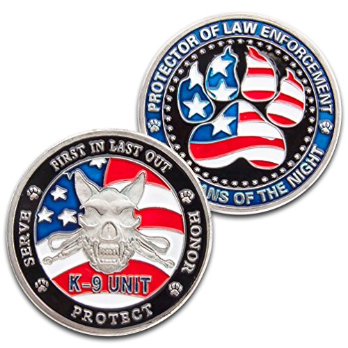 Art Crafter 1-Pack K-9 Unit Police Dog Challenge Coins, Protector of Law Enforcement A070