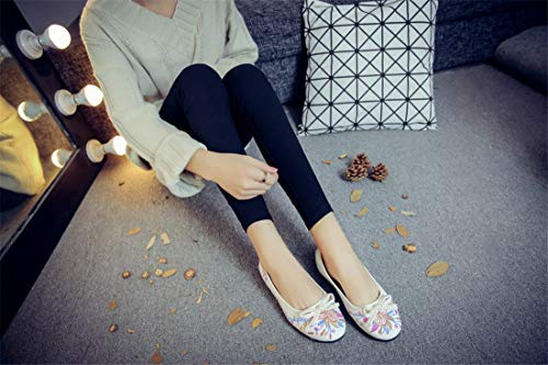 with Embroidered White Shoes Bottom Ballet Step Cloth Shoes Anti Flats Shoes Leisure Flat Embroidery one Women's Slip Espadrilles Tqn1EwY