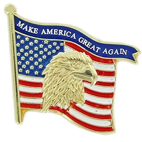 (Patriotic Gold Tone Enameled United States Flag Lapel Pin, 1 1/8 Inch)