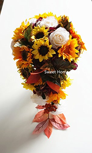 - Sweet Home Deco Silk Sunflower Rose Maple Leaves Wedding Flower Package Cascading Bridal Bridesmaid Bouquet Boutonnier Fall Colors (Mix Colors-12''W Cascading Bouquet)