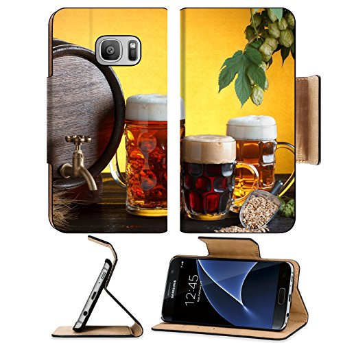Liili Premium Samsung Galaxy S7 Flip Pu Leather Wallet Case IMAGE ID 32454550 Vintage beer with beer glasses on wooden table with wheat bunch hop and barley still (Justin Lager)