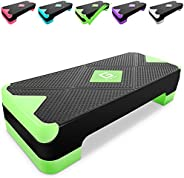 GYMMAGE Adjustable Workout Aerobic Stepper, Aerobic Exercise Step Platform with 2 Risers, Exercise Step Deck f