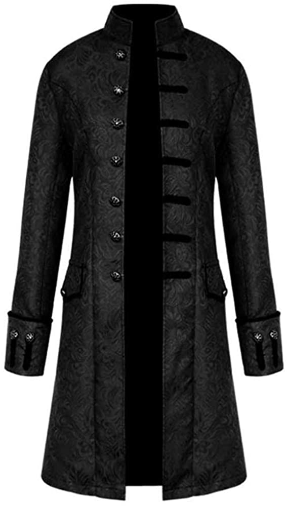 Mens Tailcoat Winter Slim Fit Men Coat Leightweight Buttons Outwear Black Jackets Vintage OMINA Long Trench Coat Men