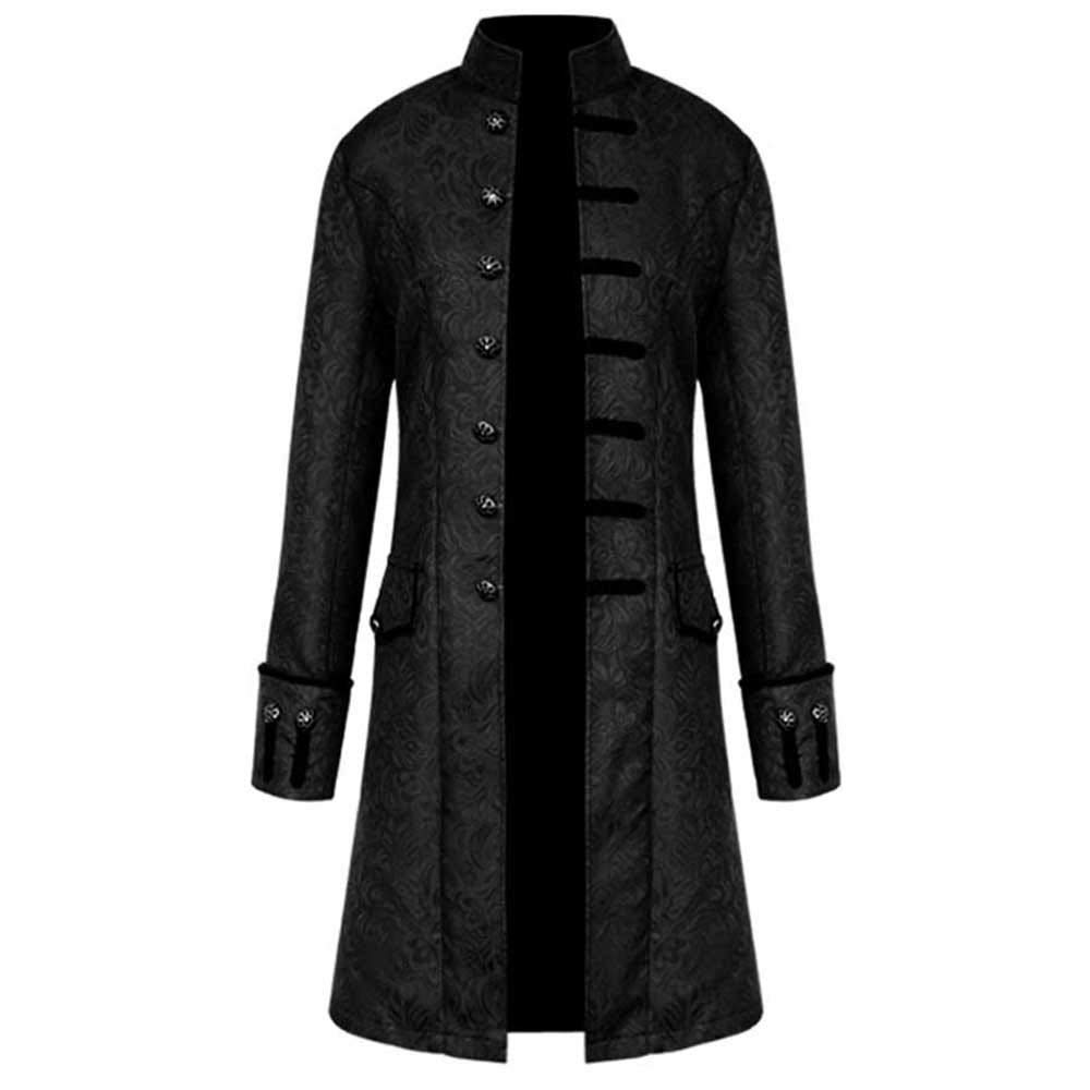 Sunyastor Mens Vintage Tailcoat Jacket Long Steampunk Formal Gothic Victorian Frock Buttons Coat Uniform Costume for Party Black