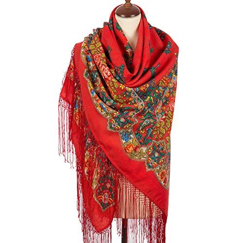 Pavlovo Posad Russian Shawl Pashmina Scarf Wrap Plus Size Wool 58x58''