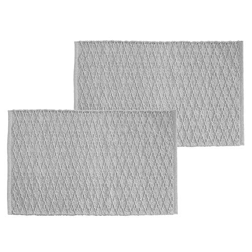 mDesign Soft 100% Cotton Luxury Hotel-Style Rectangular Spa Mat Rug, Water Absorbent, Diamond Design - for Bathroom Vanity, Bathtub/Shower, Machine Washable - 34